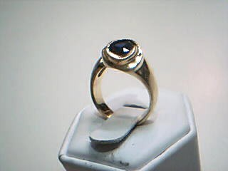 Synthetic Sapphire Lady's Stone & Diamond Ring 7 Diamonds .17 Carat T.W.
