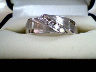 Gent's Gold-Diamond Wedding Band 5 Diamonds .50 Carat T.W. 10K White Gold 7.4g