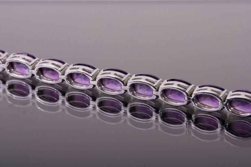 Amethyst Bracelet 14K White Gold 15.5g 7 inches