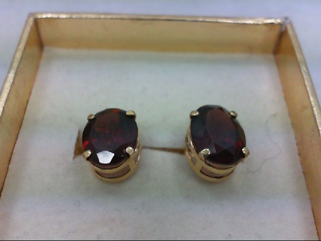 Red Stone Gold-Stone Earrings 14K Yellow Gold 1.6g