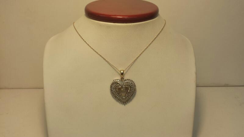 """10k Yellow Gold Pendant with 14k Necklace and 96 Diamonds - 3dwt - Lenght 18"""""""
