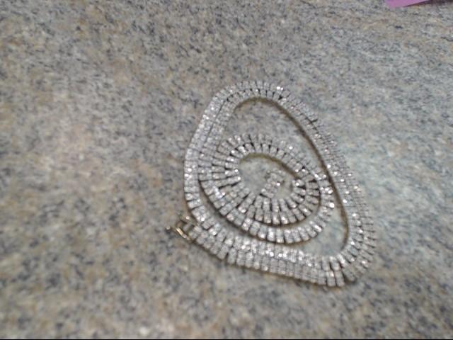 "34"" White Stone Stone Necklace 925 Silver 55.95dwt"