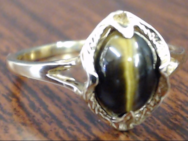 VINTAGE OVAL CUT TIGER CAT EYE RING SOLID REAL 10K GOLD SIZE 7.5
