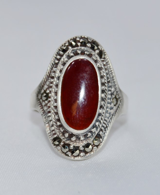 Sterling Silver Red Oval Enamel & Marcasite Statement Ring 6.5