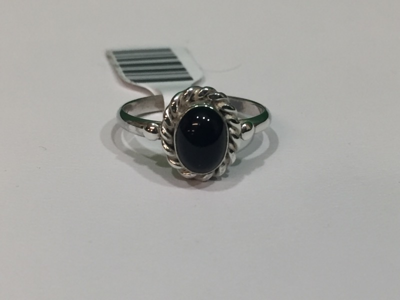 Black Stone Lady's Silver & Stone Ring 925 Silver 2.4g Size:7.7