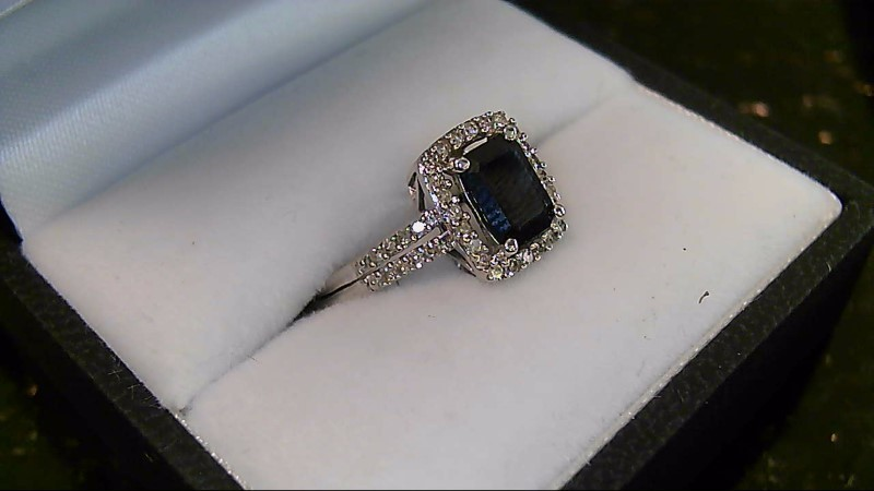 Lady's Emerald Cut Blue Sapphire with Round Diamond White Gold Ring