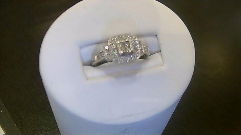 Lady's Diamond Engagement Ring 28 Diamonds .28 Carat T.W. 10K White Gold 3g