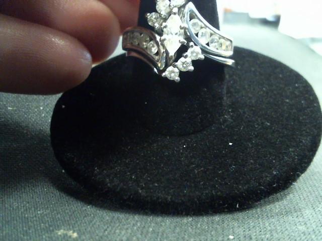 Lady's Diamond Cluster Ring 17 Diamonds .84 Carat T.W. 14K White Gold 6.7g