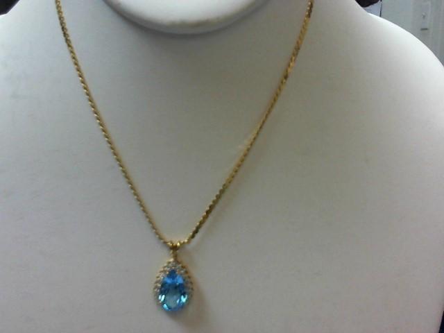 Blue Stone Diamond & Stone Necklace 21 Diamonds .21 Carat T.W. 14K Yellow Gold