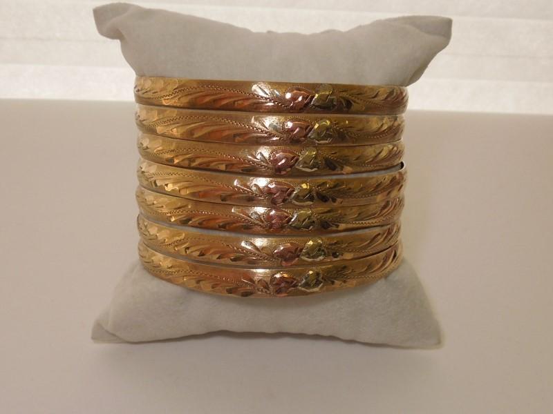 Gold Bracelet 10K Tri-color Gold 43.5g