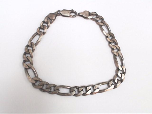 "Unisex Silver Figaro Bracelet 925 Silver 14.3g 8"""