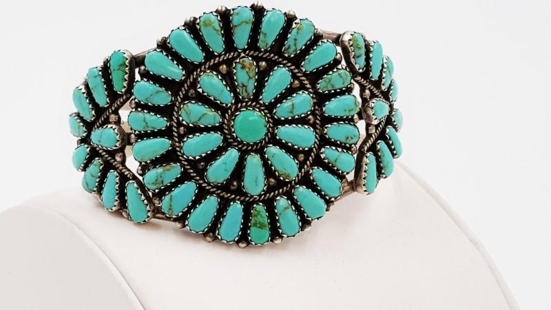 Ray Tafoya Navajo Petit Pointe Turquoise & Sterling Silver Bracelet