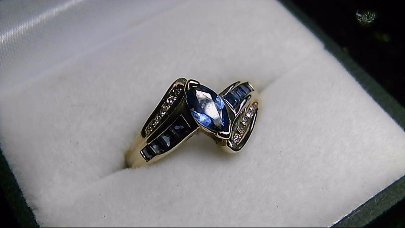 Synthetic Sapphire Lady's Stone & Diamond Ring SZ 7.25