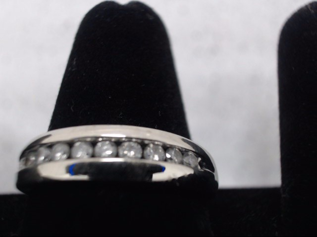 Gent's Gold-Diamond Wedding Band 10 Diamonds .50 Carat T.W. 10K White Gold 5.5g