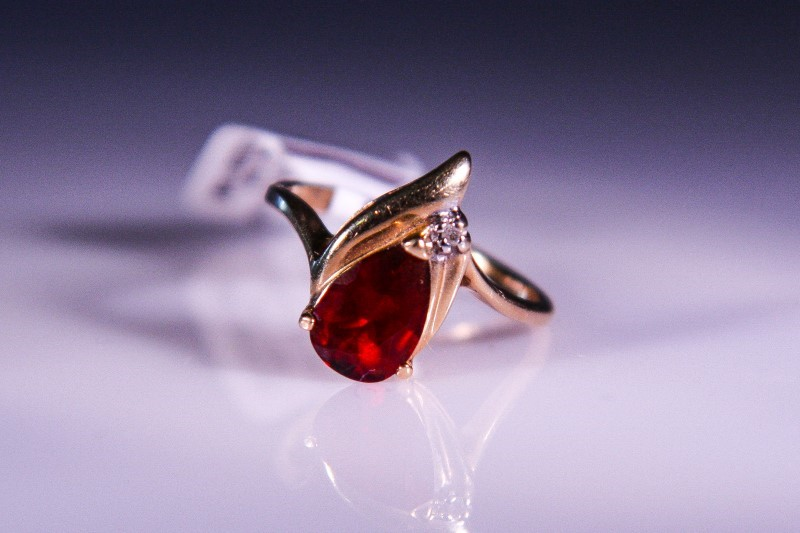 Synthetic Ruby Lady's Stone & Diamond Ring .01 CT. 10K Yellow Gold 2.3g