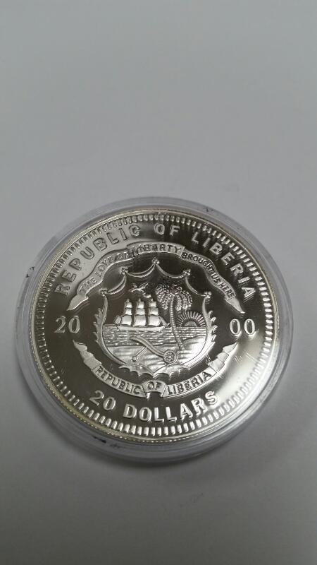 AMERICAN MINT REPUBLIC OF LIBERIA $20.00 SILVER COIN RONALD REAGAN