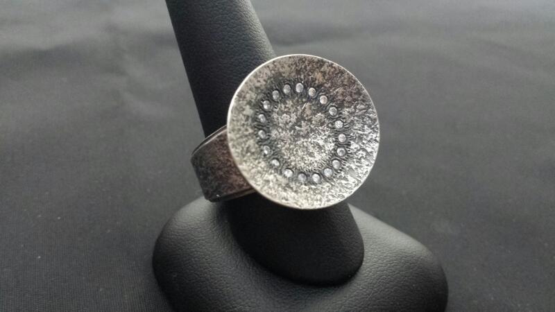 Silpada Circle CZ Lady's Silver & Stone Ring 925