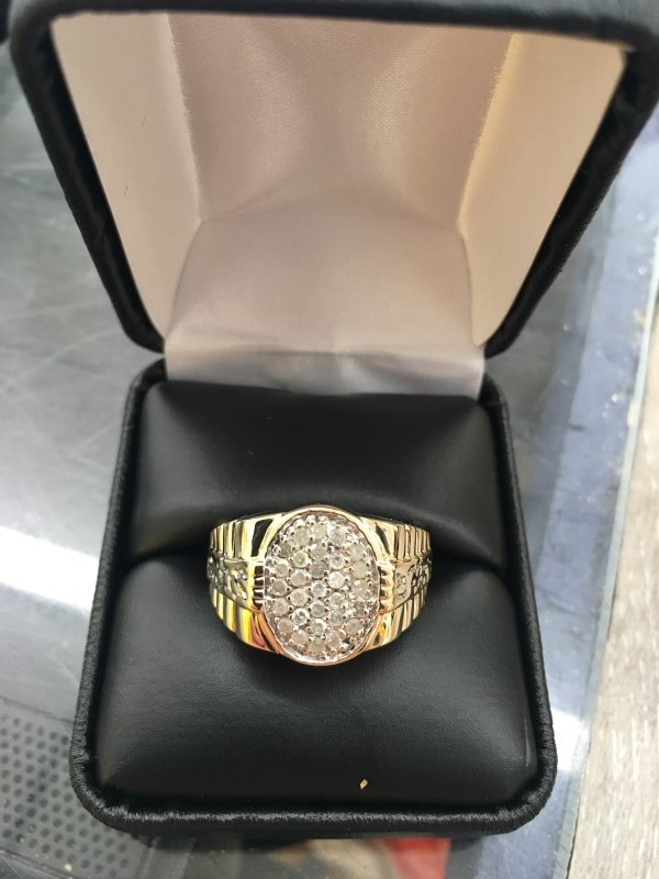 Gent's Diamond Cluster Ring 30 Diamonds .30 Carat T.W. 10K Yellow Gold 3.75dwt