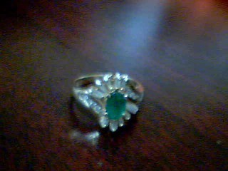Synthetic Emerald Lady's Stone & Diamond Ring 20 Diamonds .80 Carat T.W.