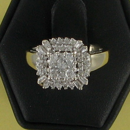 Lady's Diamond Cluster Ring 35 Diamonds .70 Carat T.W. 14K White Gold 3.2dwt