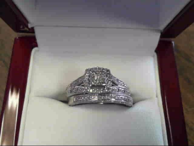 Lady's Silver-Diamond Ring 60 Diamonds .60 Carat T.W. 925 Silver 4.5dwt
