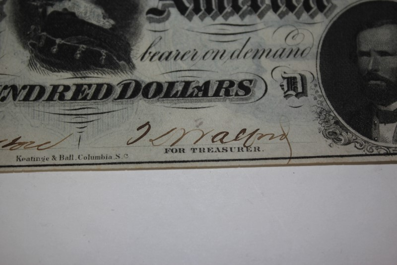 THE CONFEDERATE STATES of AMERICA $100 NOTE