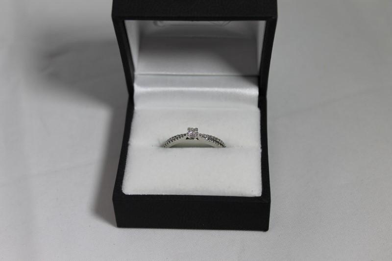 Princess Cut and Round Diamond Sterling Silver Wedding Set Size 7