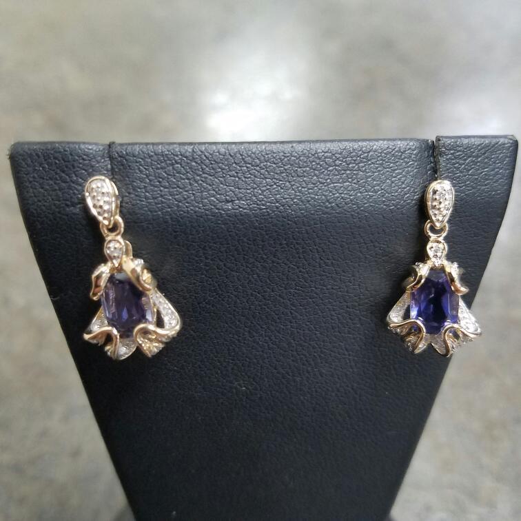 Blue Stone Gold-Diamond & Stone Earrings 12 Diamonds .12 Carat T.W.
