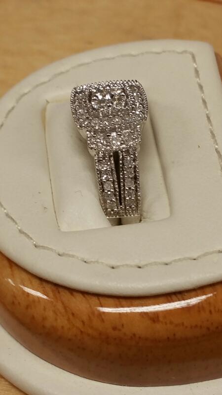 Lady's Diamond Cluster Ring 50 Diamonds .50 Carat T.W. 10K White Gold 1.7dwt