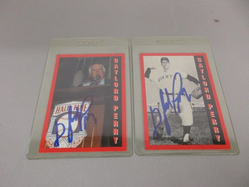 TWO SIGNED GAYLORD PERRY ALL-SPORTS USA BASEBALL CARDS