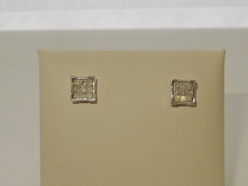 Gold-Diamond Earrings 18 Diamonds .54 Carat T.W. 10K White Gold 1.2g