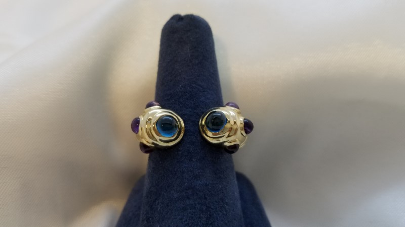 Moonstone Lady's Stone Ring 14K Yellow Gold 8.3g Size:6