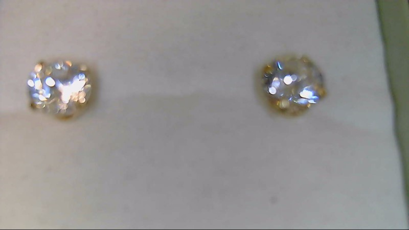 lady's 14k yellow gold round cz stud earrings