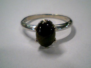 Black Stone Lady's Stone Ring 10K White Gold 1.8g Size:7.8