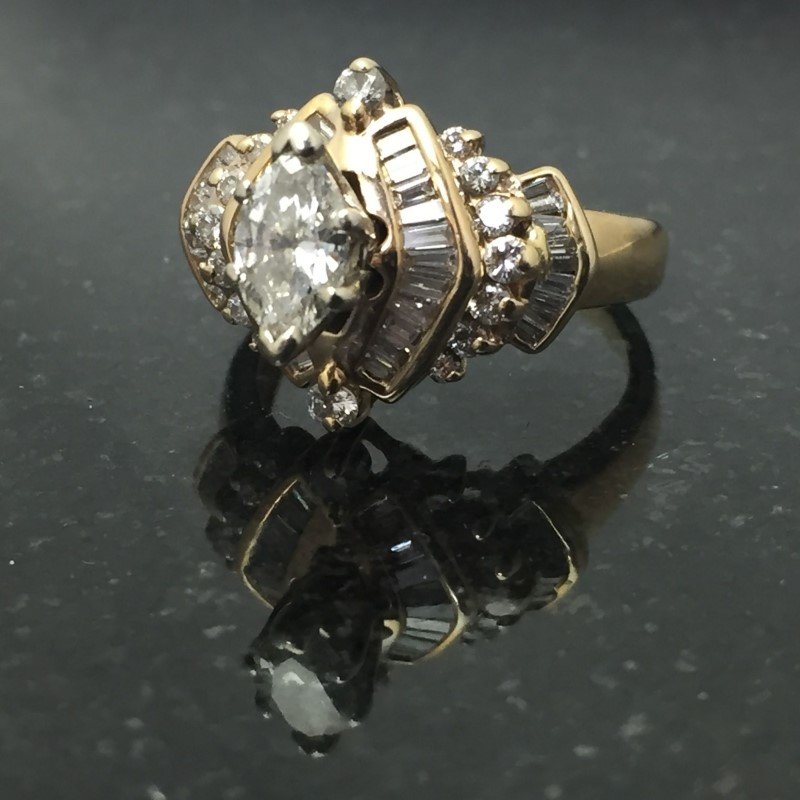 Lady's Diamond Fashion Ring 57 Diamonds 1.71 Carat T.W. 14K Yellow Gold 3.9dwt