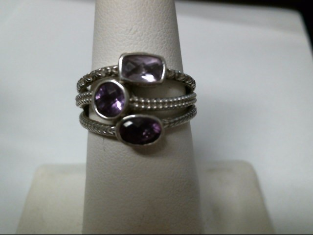Purple Stone Lady's Silver & Stone Ring 925 Silver 4.7g Size:7