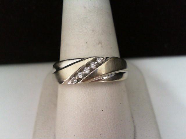 Gent's Gold-Diamond Wedding Band 5 Diamonds .10 Carat T.W. 10K White Gold 5.3g