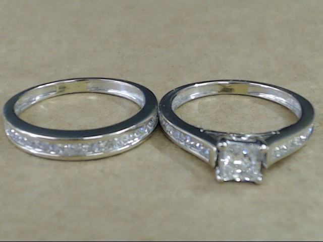 VINTAGE PRINCESS DIAMOND WEDDING SET RING BAND 14K WHITE GOLD SZ 6.5
