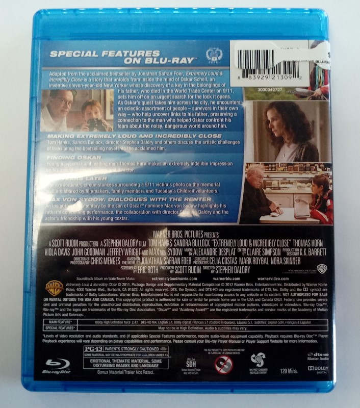 EXTREMELY LOUD AND INCREDIBLY CLOSE, BLU-RAY DVD