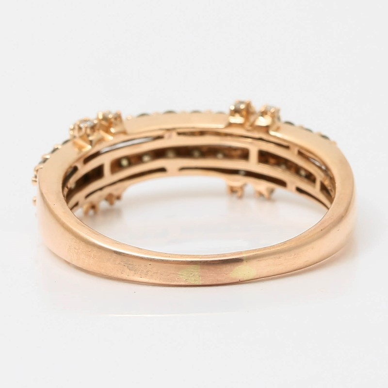 14K Rose Gold 2 Band Bead Set Chocolate Vanilla Diamond Ring Size 8