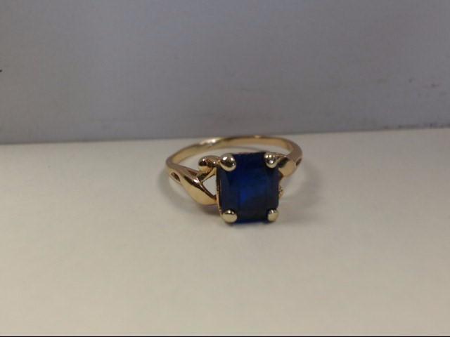 Blue Stone Lady's Stone Ring 10K Yellow Gold 1.9g Size:6.5