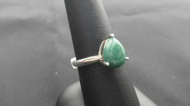 Pear Jade Lady's Sterling Silver Ring 925