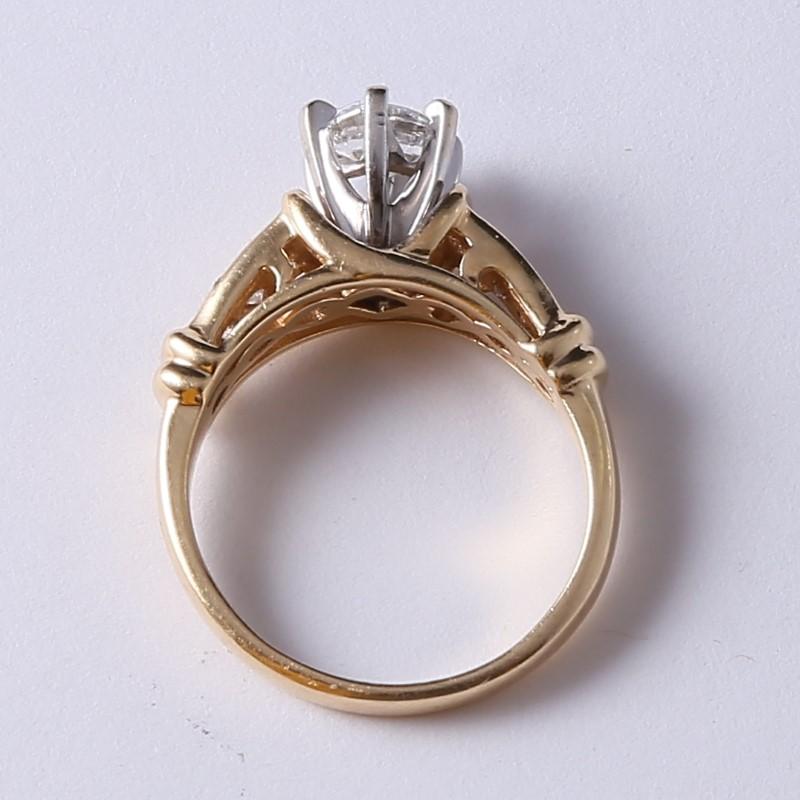 14K Yellow Gold Round & Marquise Diamond Engagement Ring Size 6.75