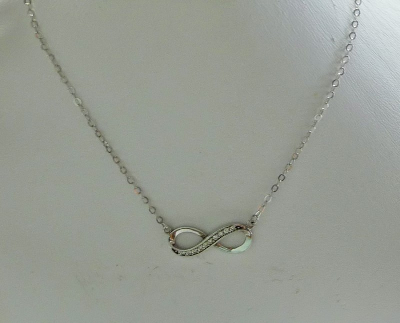 Synthetic Cubic Zirconia Stone Necklace 925 Silver 2.72dwt