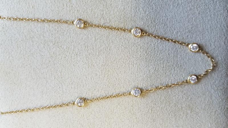 "22"" Diamond Necklace 6 Diamonds .60 Carat T.W. 14K Yellow Gold 3.5g"