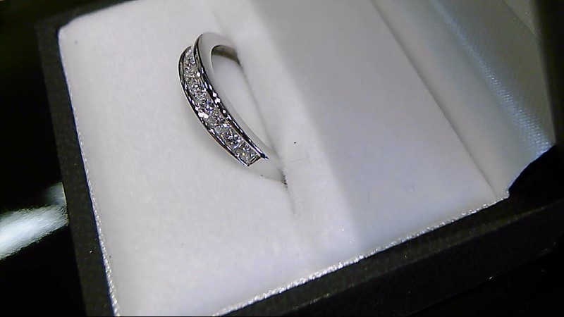 Lady's Diamond Wedding Band 10 Diamonds .64 Carat T.W. 14K White Gold 2.1g