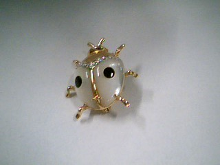 Synthetic Mother Of Pearl Gold-Diamond-Stone Brooch 5 Diamonds .05 Carat T.W.