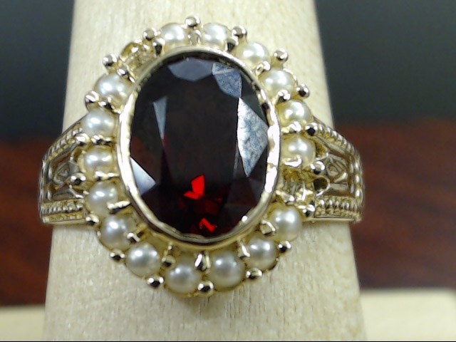 VINTAGE OVAL GARNET PEARL COCKTAIL RING SOLID REAL 14K GOLD SIZE 8