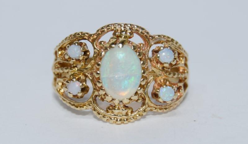 14K Yellow Gold Vintage Inspired Opal Cluster Milgrain Open Work Band Ring sz 8