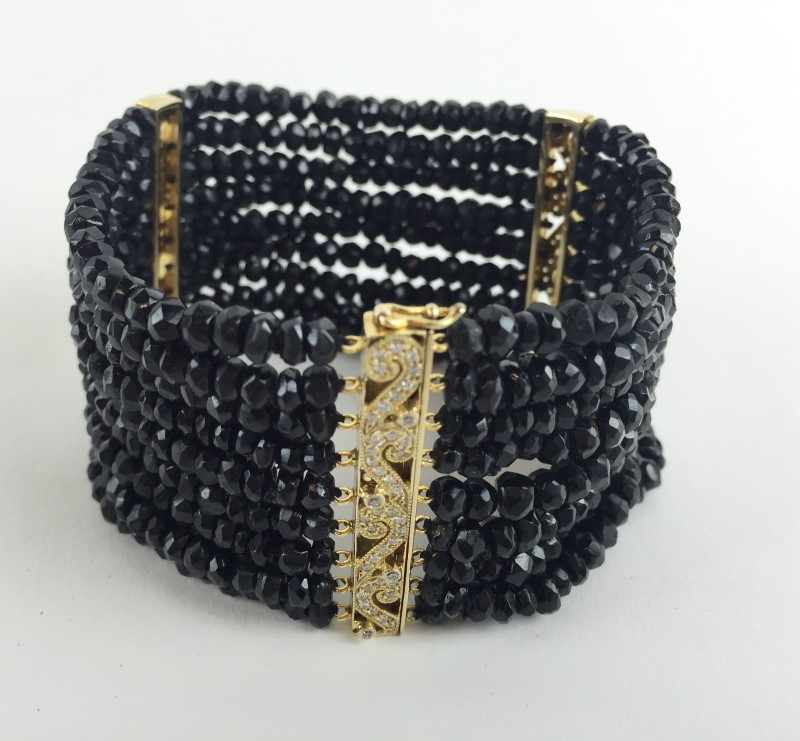 Black Onyx & Diamond 14kt Bracelet Beaded 59.5g